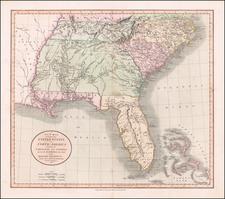 Florida, South, Alabama, Mississippi, Tennessee, Southeast, Georgia, North Carolina and South Carolina Map By John Cary