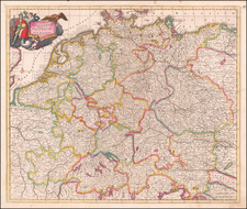 Germany, Austria, Poland, Hungary, Czech Republic & Slovakia and Baltic Countries Map By Justus Danckerts