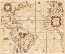 Atlantic Ocean, Mid-Atlantic, Florida, North America, Caribbean, South America, Brazil, West Africa and America Map By Pieter Goos / Johannes Van Keulen