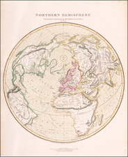Northern Hemisphere, Polar Maps, Alaska and North America Map By John Thomson