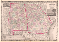 South, Alabama, Southeast and Georgia Map By Benjamin P Ward  &  Alvin Jewett Johnson