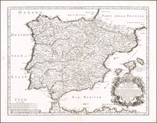 Spain and Portugal Map By Giacomo Giovanni Rossi - Giacomo Cantelli da Vignola