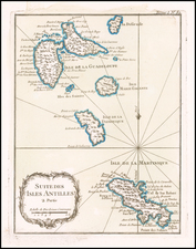 Caribbean and Martinique Map By Jacques Nicolas Bellin