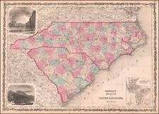 North Carolina and South Carolina Map By Benjamin P Ward  &  Alvin Jewett Johnson