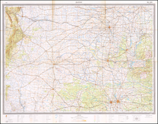 Texas and Oklahoma & Indian Territory Map By Soviet Geographic and Cartographic Ministry