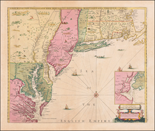A New Map of New England New York New Iarsey Pensilvania Maryland and Virginia