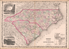 North Carolina and South Carolina Map By Alvin Jewett Johnson  &  Browning