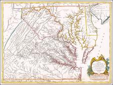 Mid-Atlantic, Maryland and Virginia Map By Gilles Robert de Vaugondy
