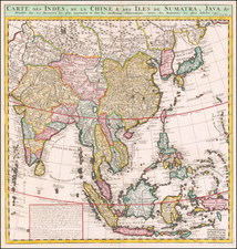 Asia, China, Japan, Korea, India, Southeast Asia, Philippines, Other Islands and Central Asia & Caucasus Map By Henri Chatelain