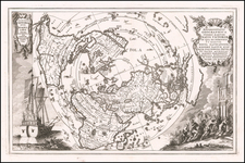 World and Northern Hemisphere Map By Heinrich Scherer