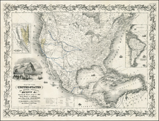 United States and California Map By Joseph Hutchins Colton