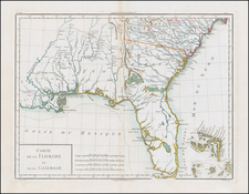 Florida, South and Southeast Map By Pierre Antoine Tardieu