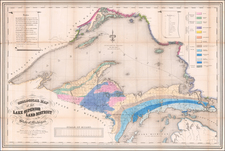 Michigan, Minnesota and Wisconsin Map By Josiah Dwight Whitney  &  John Foster