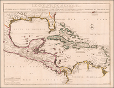 Florida, South, Southeast, Texas and Caribbean Map By Nicolas de Fer