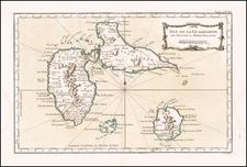 Carte De L'Isle De La Guadeloupe   By Jacques Nicolas Bellin