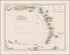Carte Des Antilles [Puerto Rico and the Virgin Islands to Curacao, Bonair and Aruba] By Pierre Antoine Tardieu