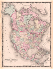 North America Map By Alvin Jewett Johnson
