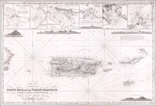 A Chart of Porto Rico and the Virgin Islands, &c. With Plans of the Principal Harbours and Roadsteads, Chiefly from the Spanish Surveys.  By J.S. Hobbs, Hydrographer.  1850 By C W Hobbs