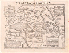 India, Central Asia & Caucasus and Russia in Asia Map By Sebastian Münster