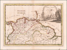 Colombia, Guianas & Suriname and Venezuela Map By Giovanni Maria Cassini