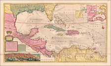 Florida, South, Southeast, Texas, Caribbean and Central America Map By Hermann Moll