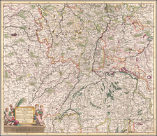 Switzerland, France and Germany Map By Theodorus I Danckerts