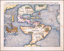 Western Hemisphere, North America, South America, Japan and Pacific Map By Sebastian Munster