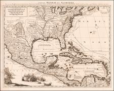 Tabula Mexicae et Floridae, Terrarum Anglicarum, et Anteriorum Americae Insularum; Item Cursuum et Circuituum Fluminis Mississipi Dicti By Peter Schenk