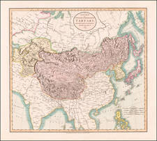 China, Korea, Central Asia & Caucasus and Russia in Asia Map By John Cary