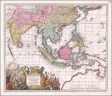 India Orientalis cum Adjacentibus Insulis Nova Delineatione ob oculos posita . . . By Matthaus Seutter