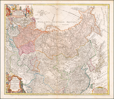 Russia, China, Central Asia & Caucasus and Russia in Asia Map By Homann Heirs / Johann Matthaus Haas