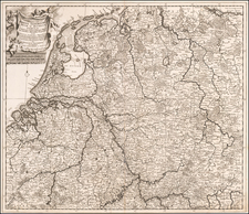Netherlands, Belgium and Germany Map By Theodorus I Danckerts