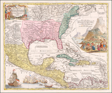 United States, South, Southeast, Texas, Midwest and Southwest Map By Johann Baptist Homann