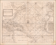 Atlantic Ocean, Southeast, Caribbean and West Africa Map By Charles Price  &  Jeremiah Seller