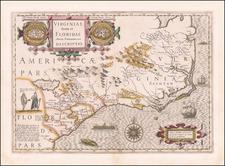 Southeast, Virginia, Georgia, North Carolina and South Carolina Map By Jodocus Hondius