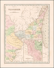 Midwest, Wisconsin, Plains and Iowa Map By Thomas Gamaliel Bradford