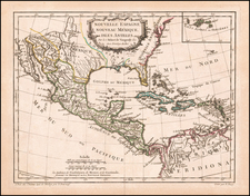 Southeast, Texas, Mexico and Caribbean Map By Didier Robert de Vaugondy