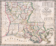Louisiana and Mississippi Map By G. W. R. Bayley