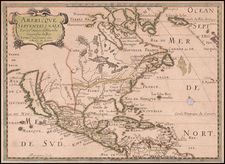 Americque Septentrionale Par le Sr. Sanson d'Abbeville Geographe du Roy . . . 1705  [Rare Peninsular California edition, with unusual Mississippi River depiction] By Pierre Moullart Sanson
