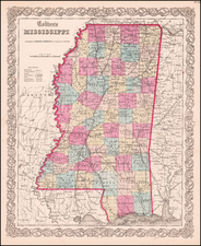 Mississippi Map By Joseph Hutchins Colton