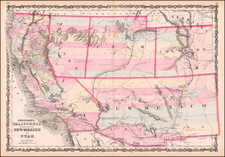 Southwest, Arizona, Utah, Nevada, New Mexico, Rocky Mountains, Utah and California Map By Alvin Jewett Johnson  &  Browning