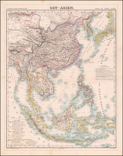 China, Japan, Korea, Southeast Asia, Philippines, Indonesia, Malaysia and Thailand Map By Dietrich Reimer  &  Heinrich Kiepert