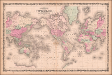 Johnson's Map of the World on Mercator's Projection . . .  By Benjamin P Ward  &  Alvin Jewett Johnson