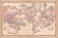 Johnson's Map of the World on Mercator's Projection . . .  By Benjamin P Ward  &  Alvin Jewett Johnson