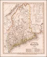 Neueste Karte von Maine Nach den bessten Quellen verbessert 1845. By Joseph Meyer