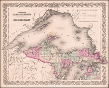 Midwest and Michigan Map By Joseph Hutchins Colton