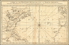 Atlantic Ocean and United States Map By Pierre Francois Xavier de Charlevoix
