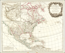 United States and North America Map By Gilles Robert de Vaugondy