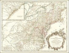 New York State, Mid-Atlantic, Kentucky, Tennessee, Southeast, Virginia, North Carolina and Ohio Map By Didier Robert de Vaugondy