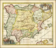 Spain and Portugal Map By Philipp Clüver